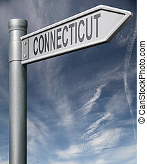 Connecticut road sign usa states clipping path