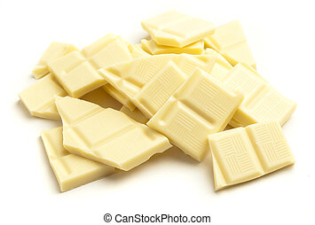 white chocolate pieces isolated on a white background