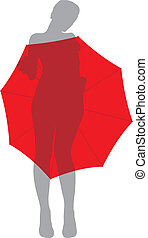 Girl under umbrella - vector illustration of a naked girl...