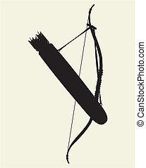 Indian Bow Arrow and Arrow Holder Vector