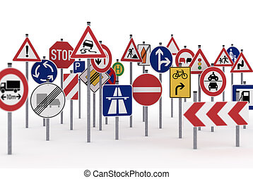 Traffic signs - Too many traffic signs on white background