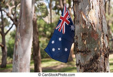 Australian flag amongst trees. - Australian flag fluttering...