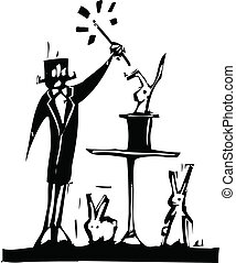 Magician - Woodcut magician and rabbits pulled from his hat