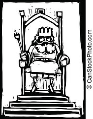 King on Throne - Woodcut of a small King on a throne