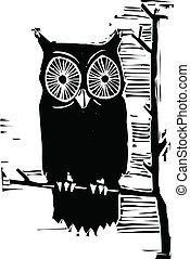 Owl - Woodcut owl in a tree looking at you