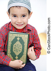 musulmán, niño, santo, libro, Corán