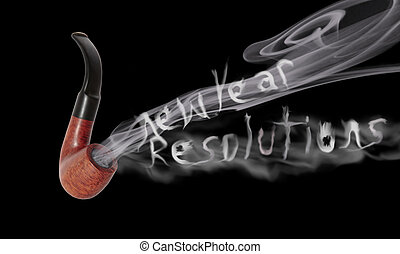 new year resolution pipe smoke - smoke from a smokers pipe...