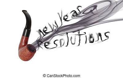 new year resolution pipe - smoke from a smokers pipe saying...