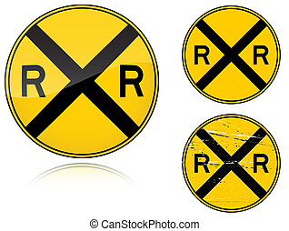 Variants a Level crossing warning - road sign - Set of...