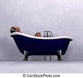 woman relaxing in bath - A woman having bath in a blue...