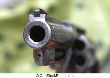Gun Barrel - Close up Of magnum .357 revolver barrel