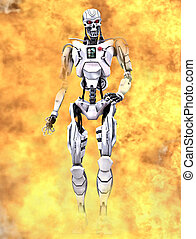 Robot walking through flames - A scene from a famous...