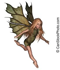 Leaf Fairy Child - Young fairy girl child with green leafy...