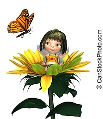 Baby Sunflower Fairy with Butterfly - Cute toon baby fairy...
