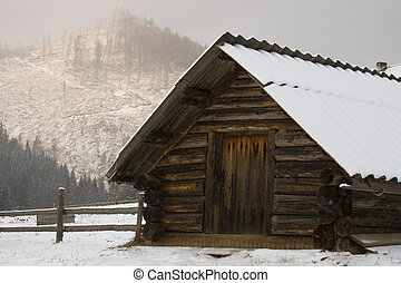 Snow house - Snow Christmas house in Carpathians, Ukraine