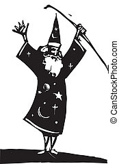 Wizard and Staff - Wizard standing alone raises his magical...