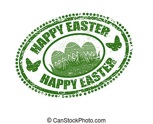Happy Easter stamp - Green grunge rubber stamp with the text...