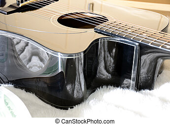 black accoustic guitar - Black accoustic guitar with various...