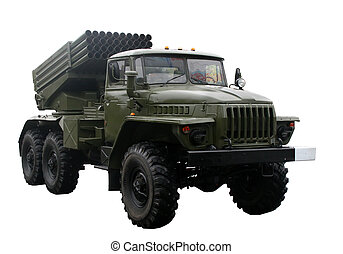 Military truck - Lorry-mounted multiple rocket launcher