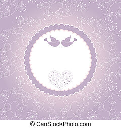 Lovebirds on seamless pattern background greeting card