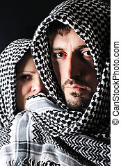 Man with arabic palestinian colors - Man and woman with...