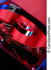 Electronics close up - Open hard disk close-up with...
