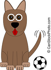 Happy Cartoon Dog with a Toy Soccer Ball