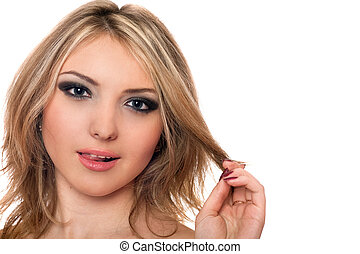 Closeup portrait of playful beautiful young blonde Isolated