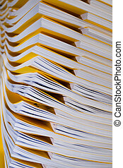 stack of papers - close up of stack of papers collated with...