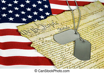 Dog Tags - Military dog tags on old American document.