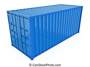 Shipping Container - Blue shipping container isolated on...