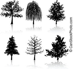 Tree silhouettes - Collection of six different tree...