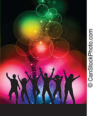 Party background - Silhouettes of people dancing on a...