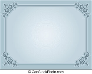 Decorative certificate background in shades of blue
