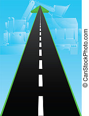 Road construction - Abstract image of the road. Road with an...