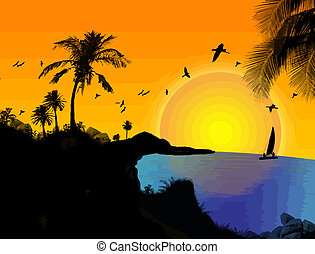Tropical paradise landscape at sunset, vector illustration