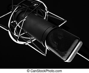 microphone - closeup of vintage memebrane microphone on...