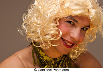 Funny Transvestite - Funny face of a man dressed as a woman