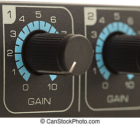 gain volume fader - extreme closeup of a gain volume fader