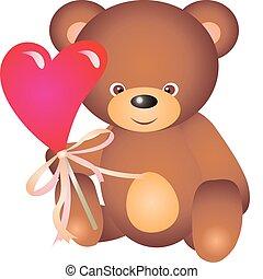 Bear vector - teddy bear with Heart. Isolated on white...
