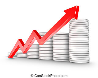 Red Arrow and Coins Growth Chart isolated on white