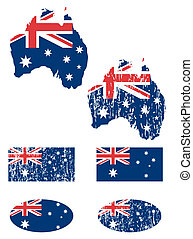 Australia flag set - Australia grunge flags set