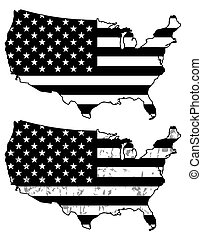 USA map - Black and White USA flag