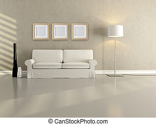 minimalist living room - white elegant couch in a minimalist...