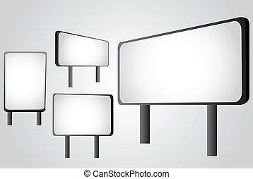 Outdoor billboard set, vector illustration