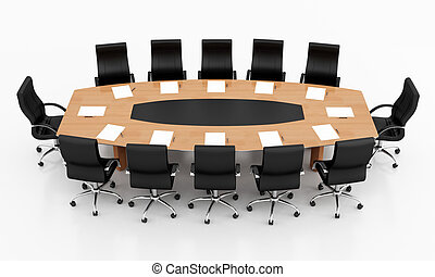 conference table and chairs with papers and pens - rendering