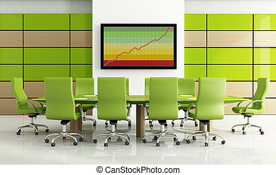 green meeting room - Contemporary bright green meeting room...
