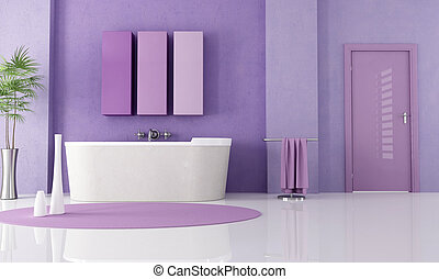 purple modern bathroom - sandstone bathtub in a lilla...