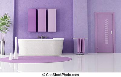 purple modern bathroom - sandstone bathtub in a lilla...