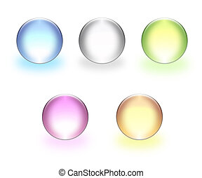 3d spheres - Multi-coloured glass spheres on a white...